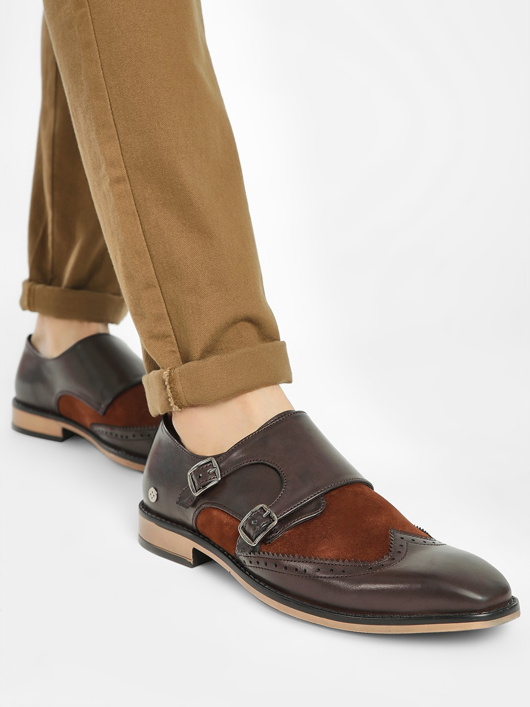 Mr Button Brown Brogue Monk Strap Formal Shoes 1