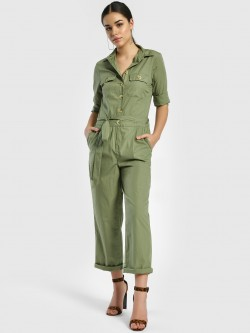 PostFold Front Tie-Knot Collared Jumpsuit
