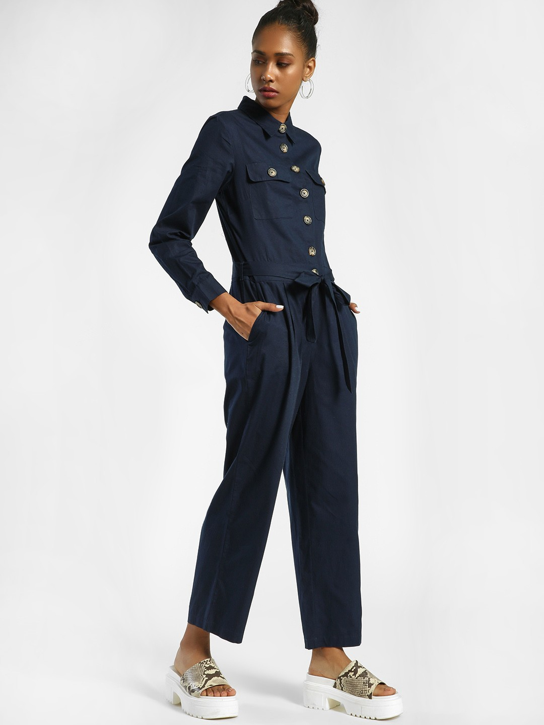 PostFold Navy Front Tie-Knot Collared Jumpsuit 1