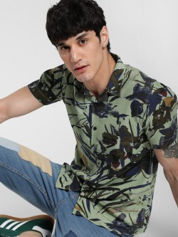 AMON Abstract Tropical Print Cuban Shirt