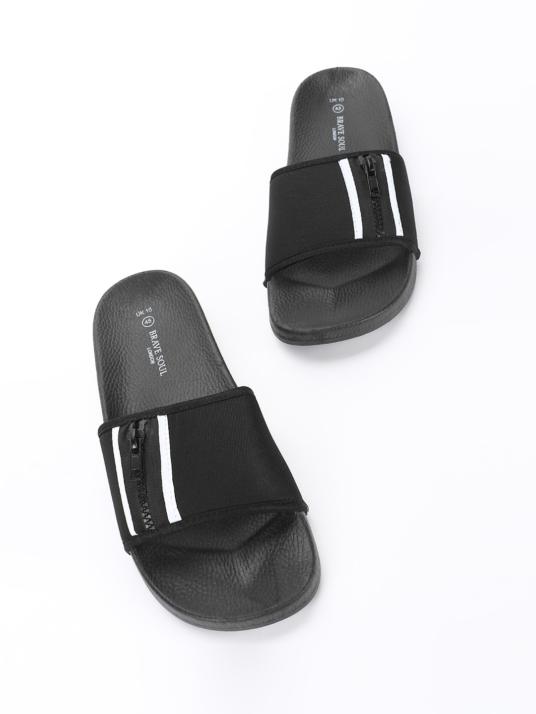 Brave Soul Black Zipper Detail Strap Slides 1