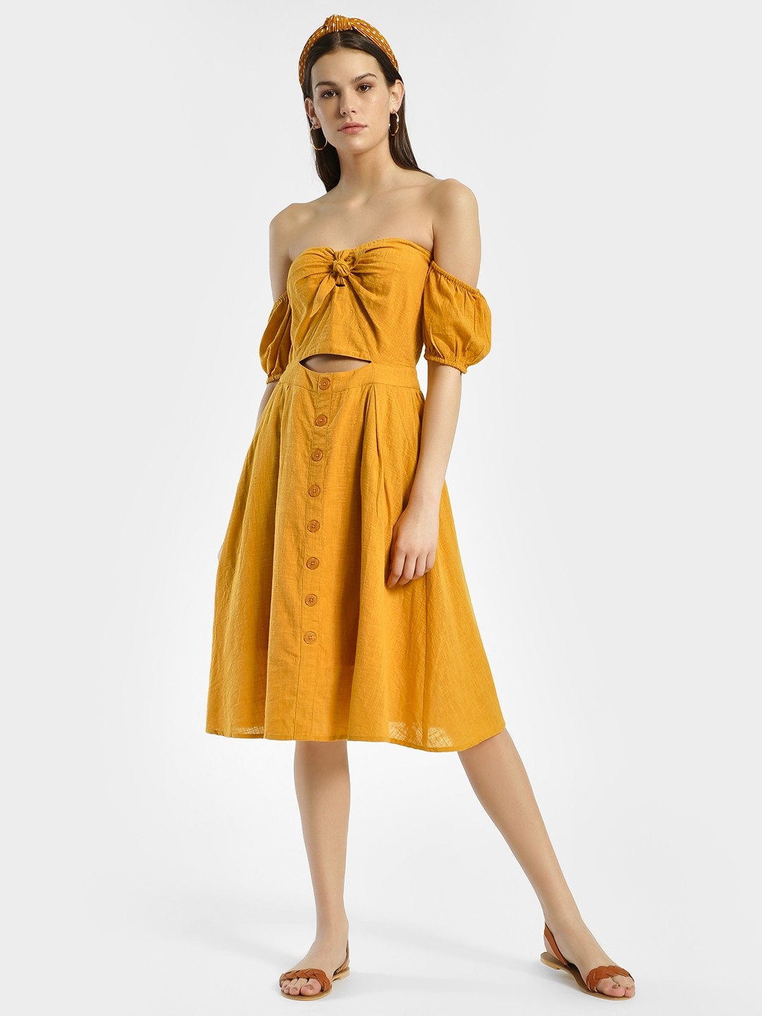KOOVS Yellow Bow Front Off-Shoulder Dress 1