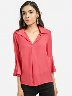 KOOVS Bell Sleeve Collared Blouse