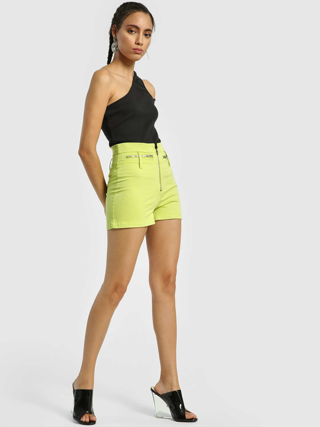 KOOVS Green High Waist Zippered Cargo Shorts 1