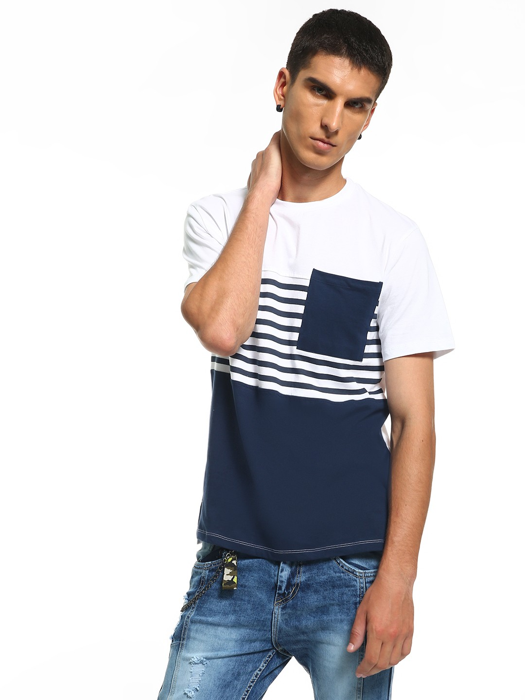 KOOVS Multi Stripe Cut And Sew T-Shirt 1