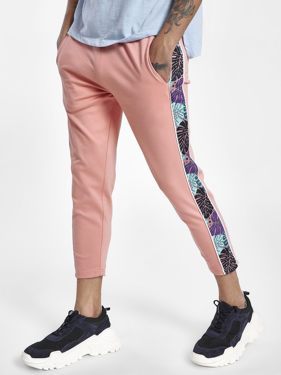 KOOVS Pink Side Tropical Panel Joggers 1
