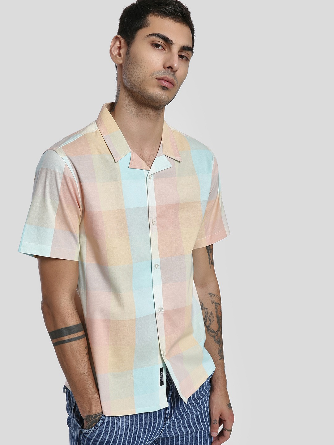 KOOVS Multi Multi-Check Cuban Collar Shirt 1