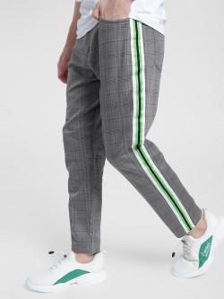 KOOVS Multi Check Side Tape Chinos