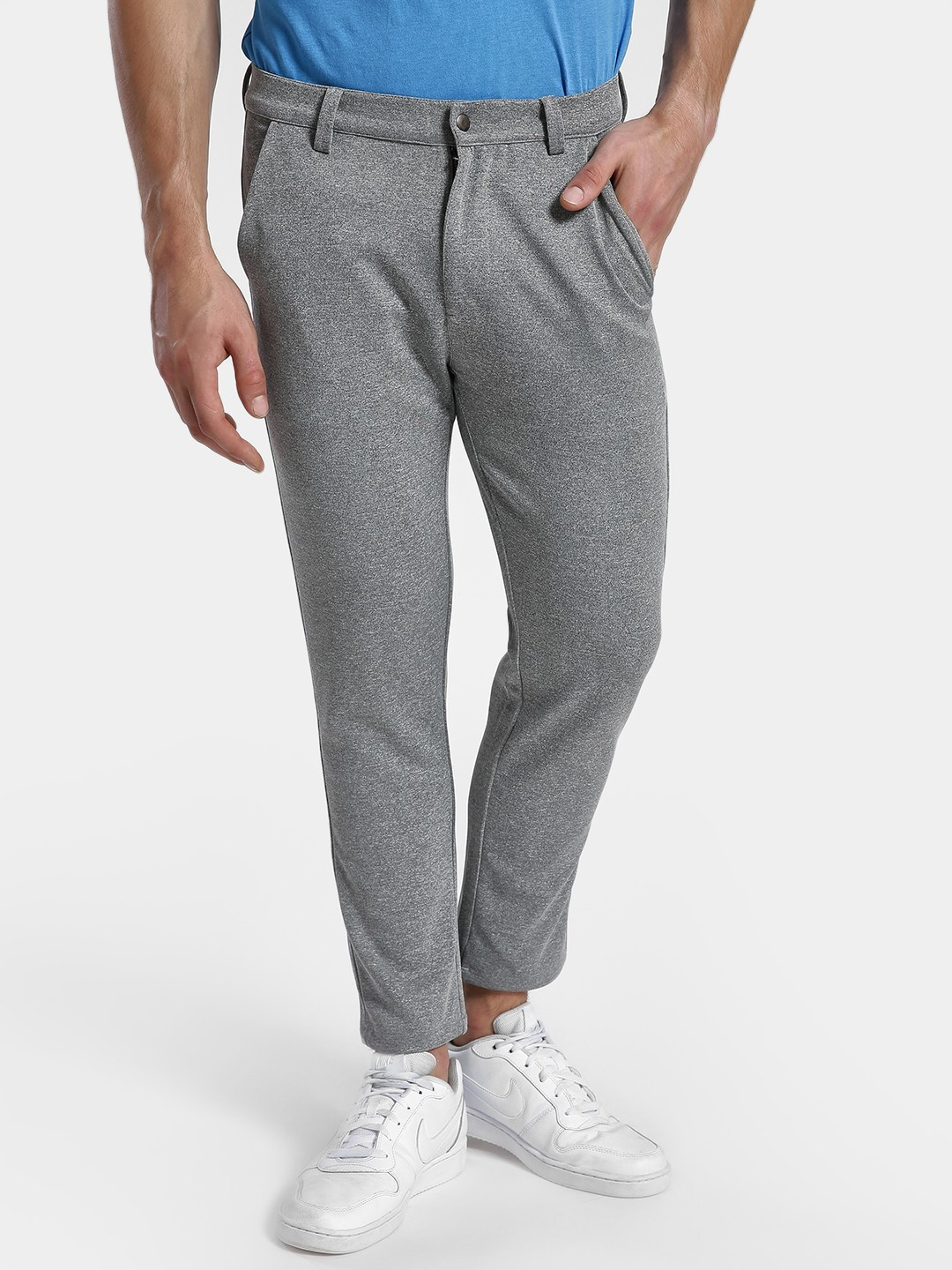 KOOVS Grey Space Dyed Knitted Slim Trousers 1
