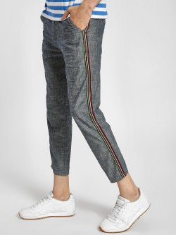 KOOVS Side Tape Chambray Cropped Chinos