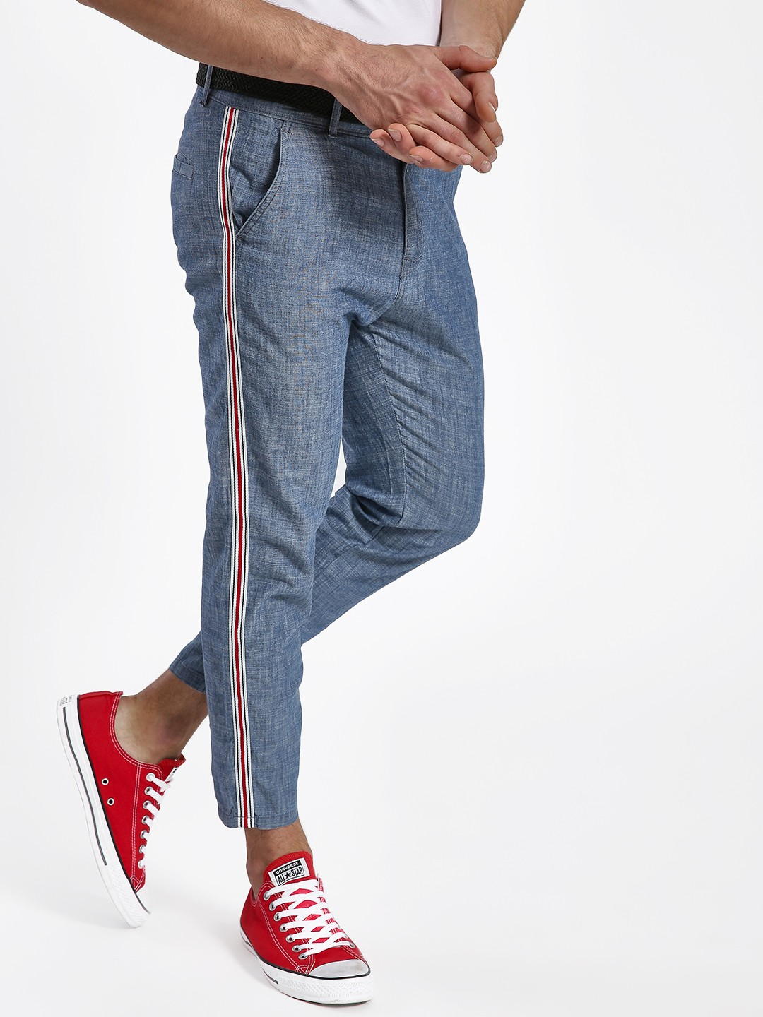 KOOVS Blue Side Tape Chambray Cropped Chinos 1