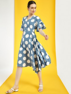 Closet Drama Polka Dot Asymmetric Midi Dress