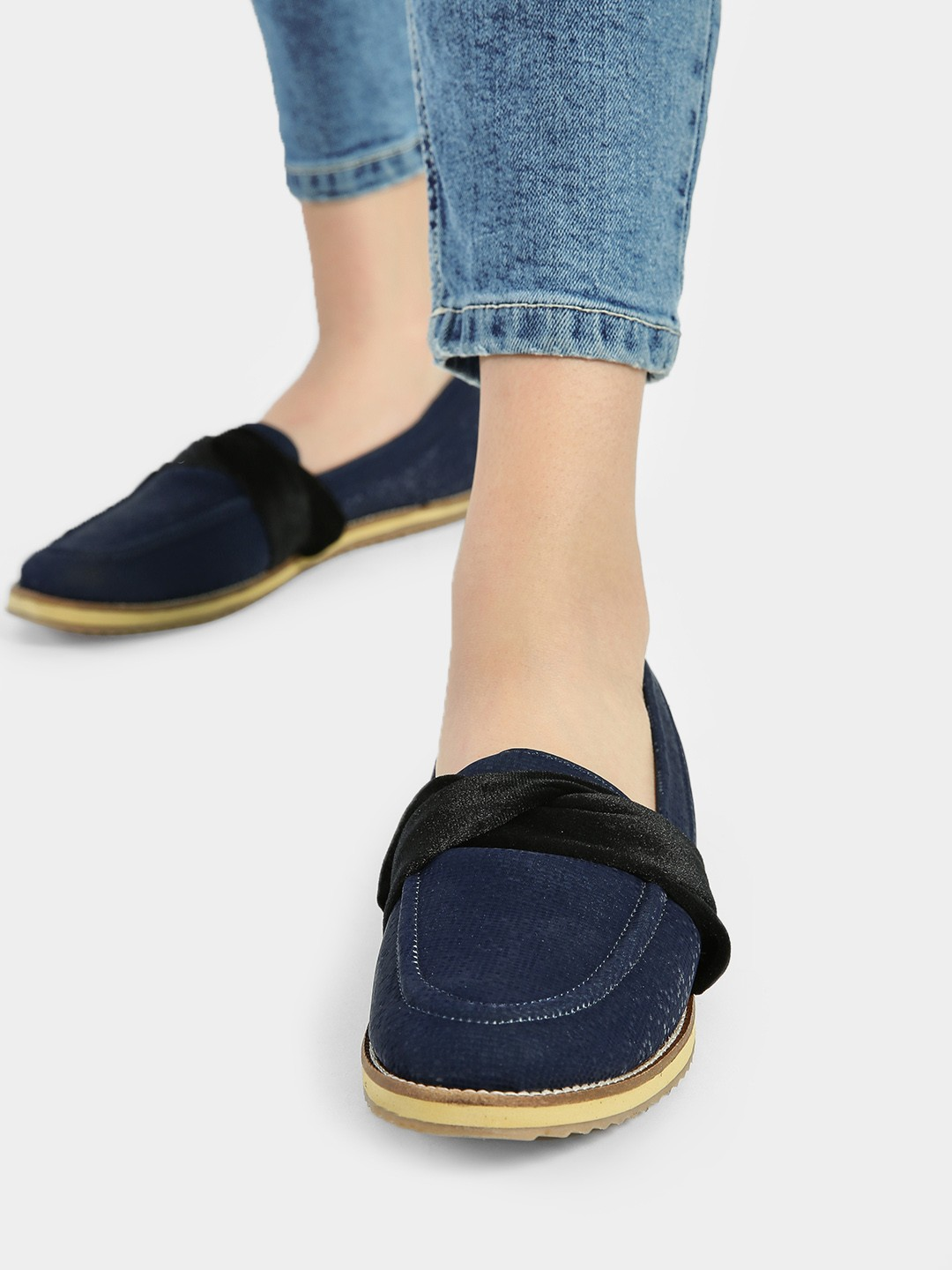 Wet Blue Blue Velour Ribbon Cushioned Loafers 1
