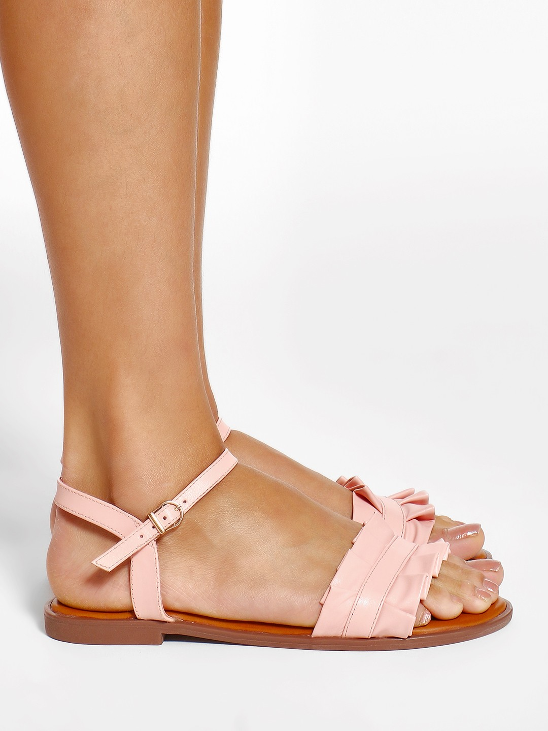 Buy Wet Blue Pink Ruffle Strap Flat Sandals For Girls