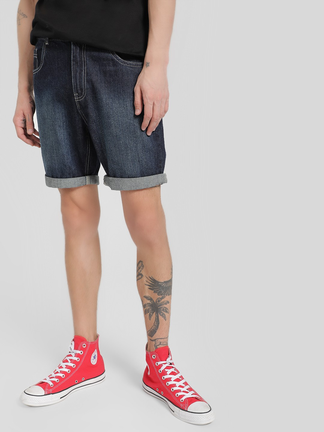 Brave Soul Blue Mid-Wash Denim Shorts 1