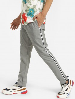 Brave Soul Micro Check Side Tape Trousers