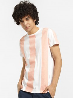 Brave Soul Colour Block Vertical Stripe T-Shirt