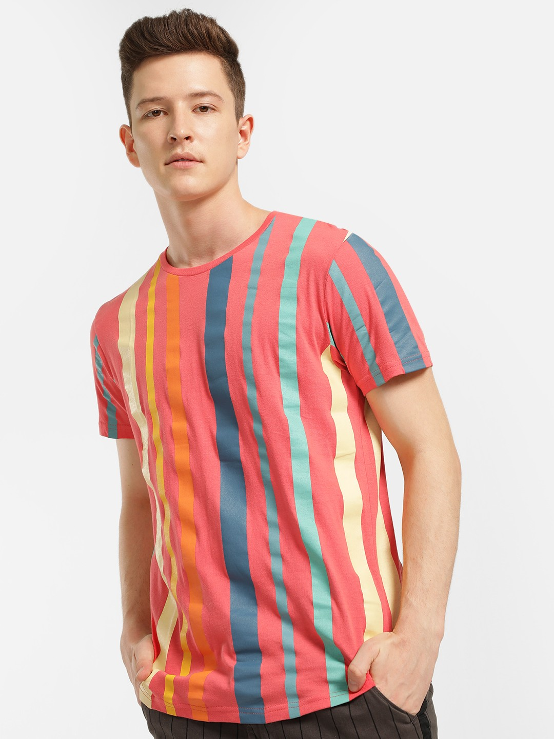 Brave Soul Red Colour Block Vertical Stripe T-Shirt 1