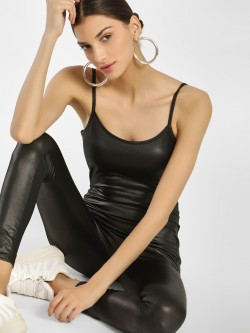 Iris Patent Sleeveless Jumpsuit