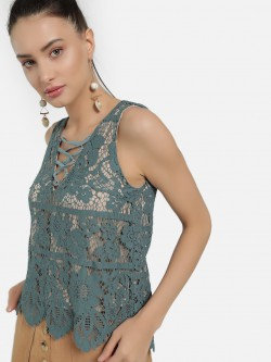 Iris Crochet  Lace Sleeveless Top