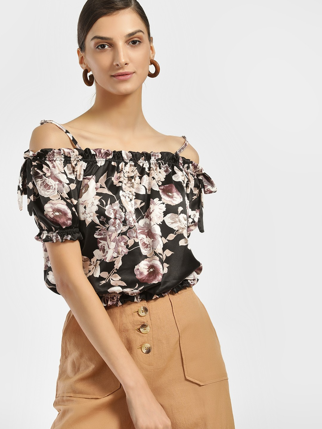 Iris Black/Purple Floral Cold Shoulder Crop Top 1