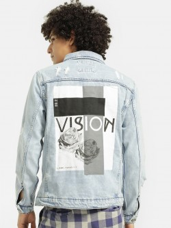Brave Soul Distressed Back Print Denim Jacket