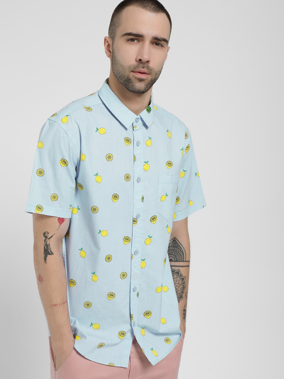 Brave Soul Blue All Over Lemon Print Shirt 1