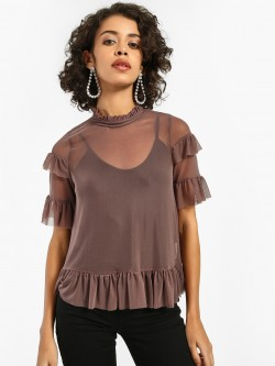 Iris Ruffled Mesh Blouse
