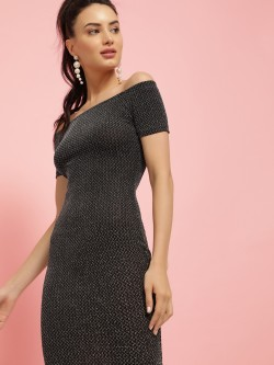 Iris Metallic Off-Shoulder Bodycon Dress