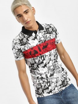 Brave Soul Street Sticker Print Polo Shirt