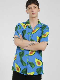 Brave Soul Avocado Print Cuban Collar Shirt