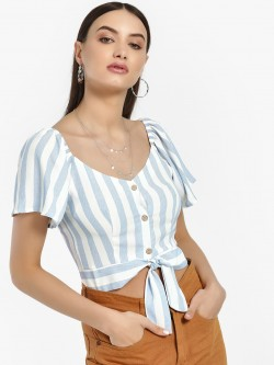 Iris Stripe Front Knot Crop Top