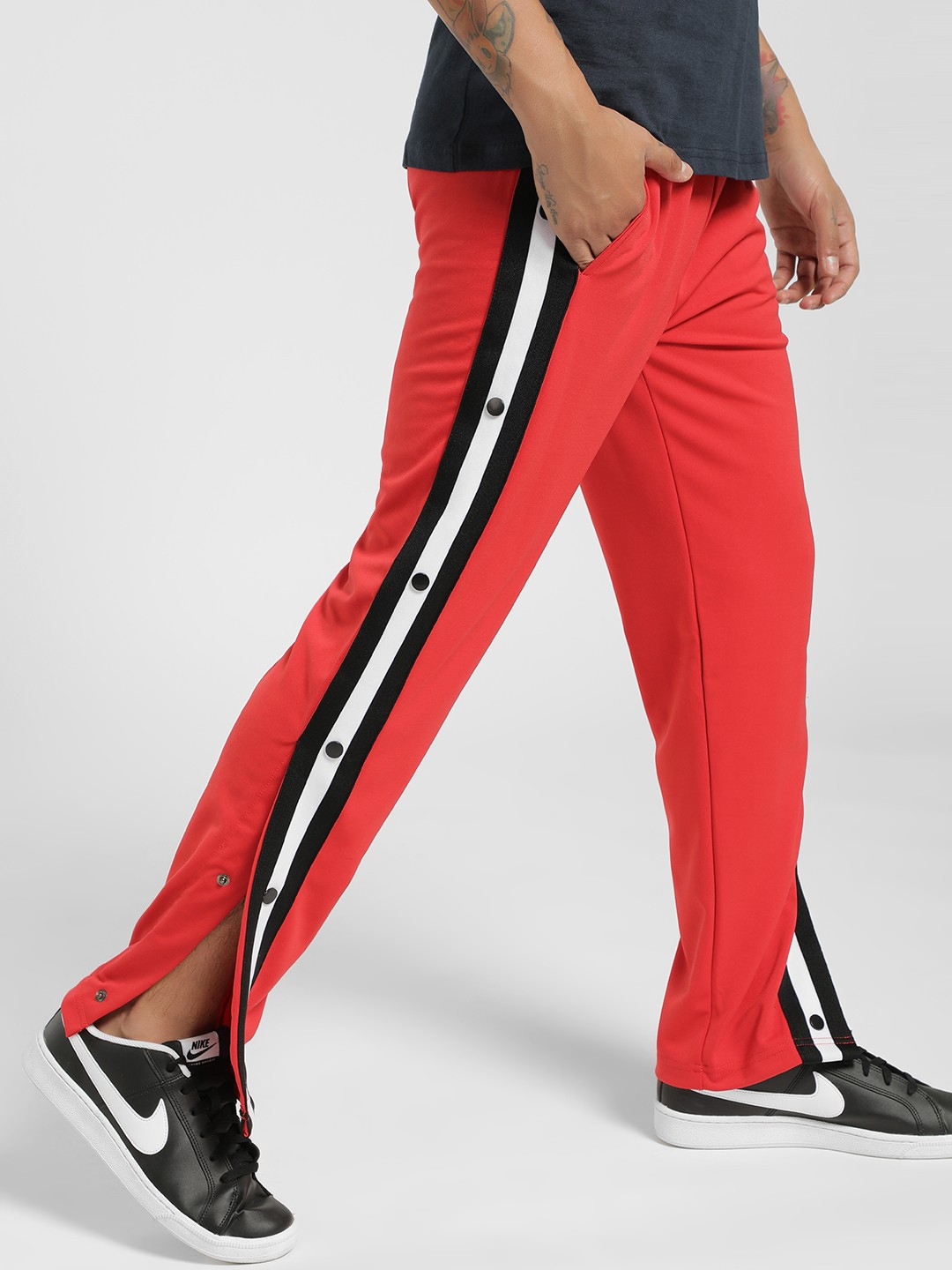 Brave Soul Red Colour Block Side Tape Popper Joggers 1