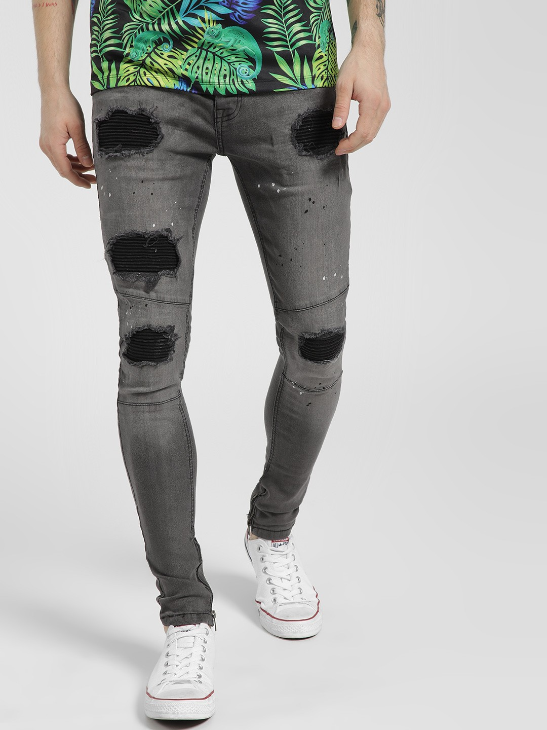 Brave Soul Grey Distressed Innerpatch Skinny Jeans 1