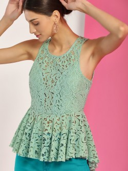 Iris Lace Peplum Top