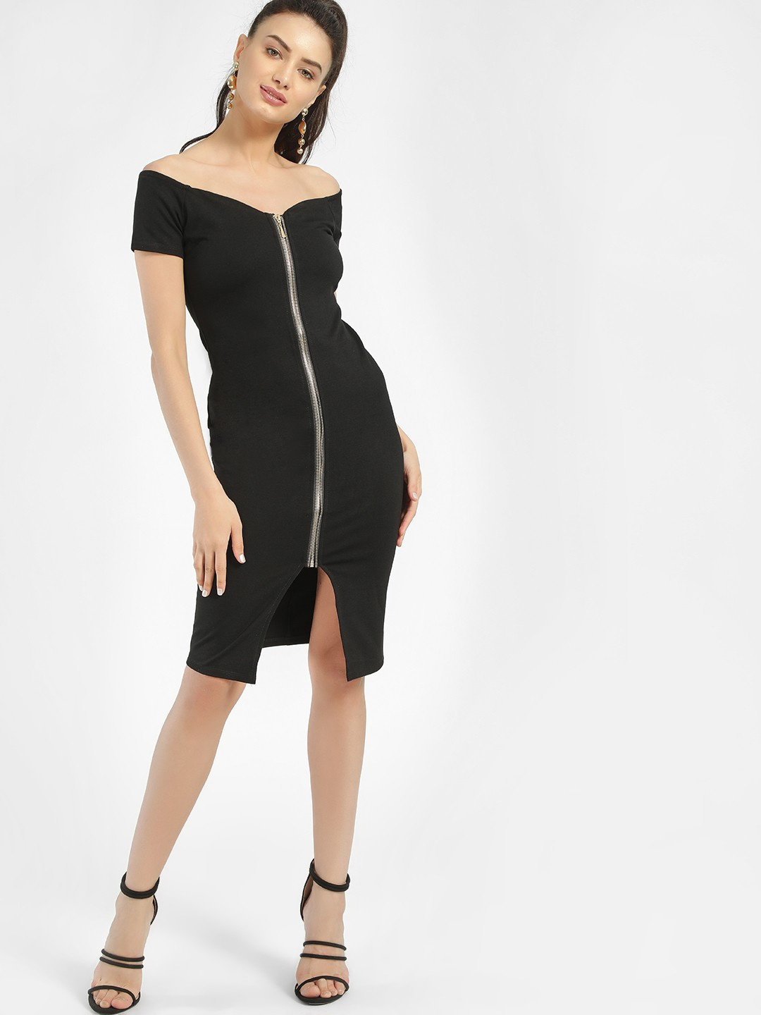 Iris Black Zip-Up Off-Shoulder Dress 1