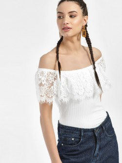 Iris Overlay Lace Bandeau Top