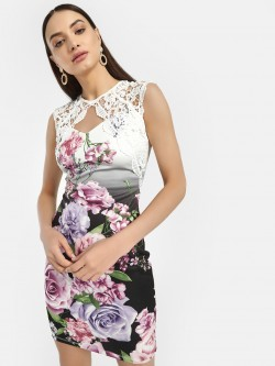 Iris Lace Trim Floral Bodycon Dress