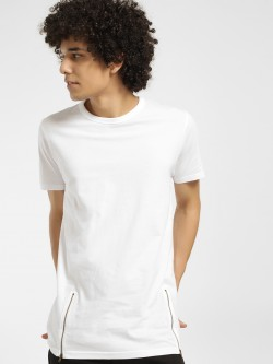 Brave Soul Zippered Hem Longline T-Shirt