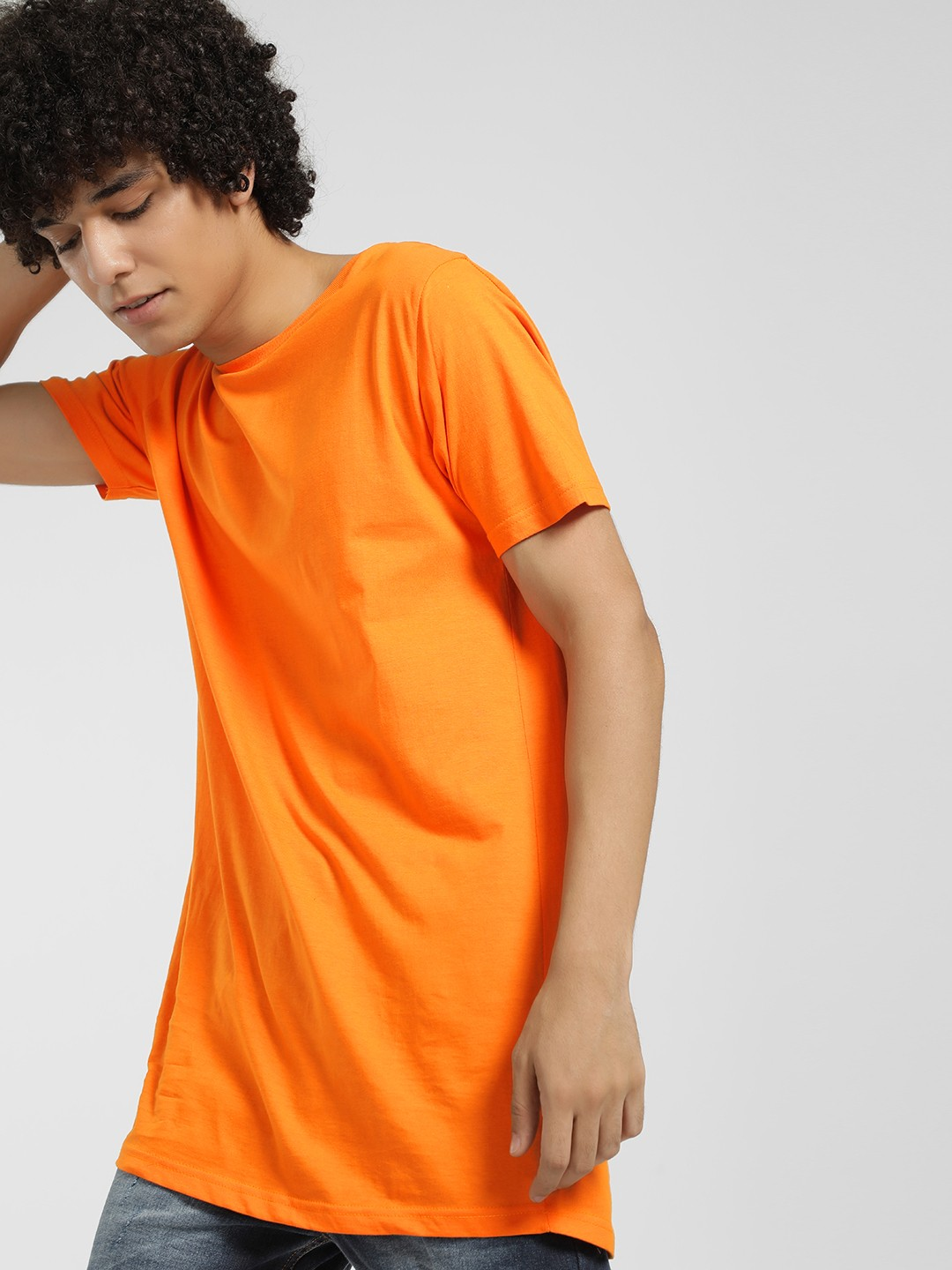 Brave Soul Orange Basic Short Sleeve Longline T-Shirt 1