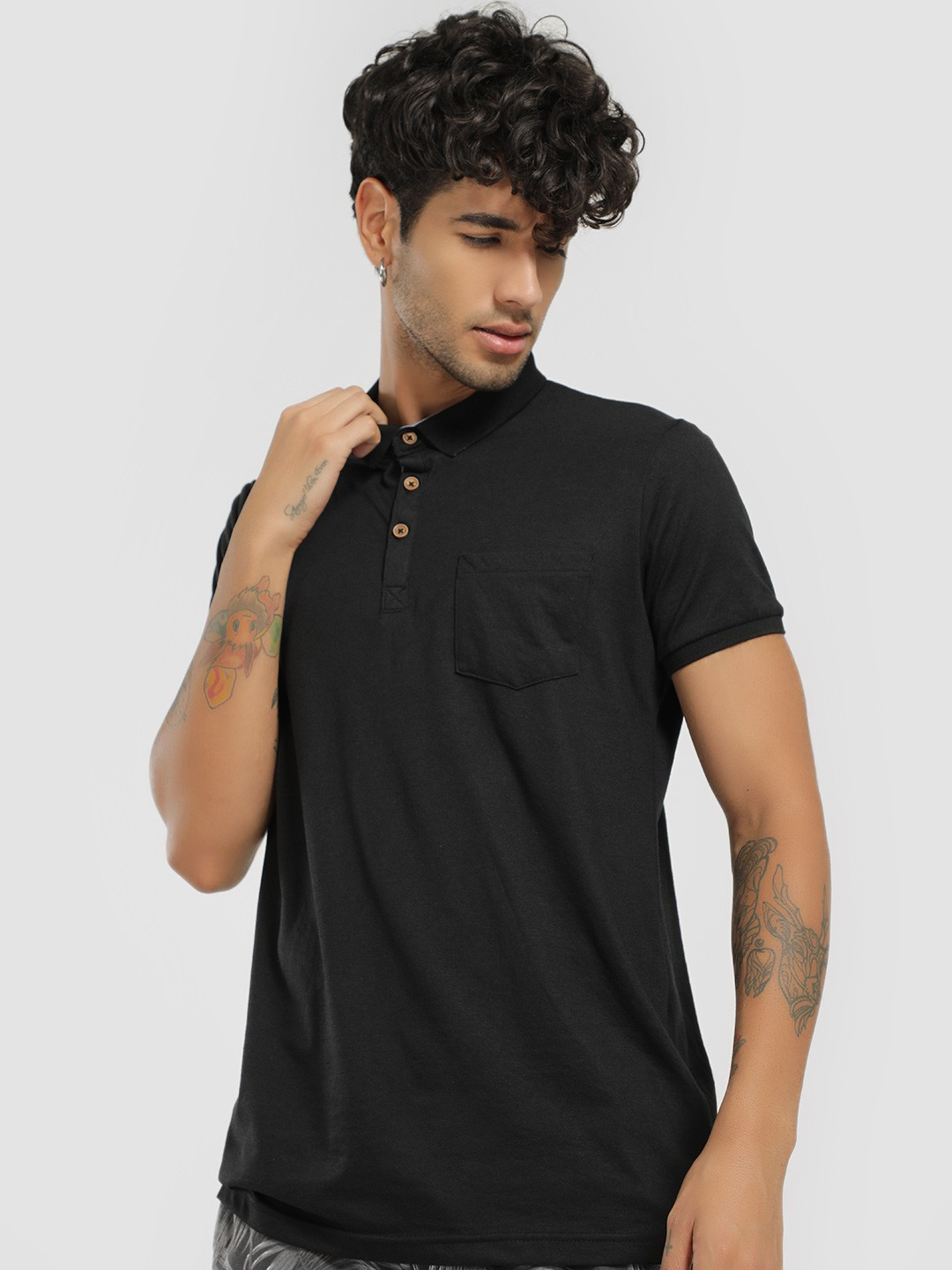 Brave Soul Black Basic Polo Shirt 1