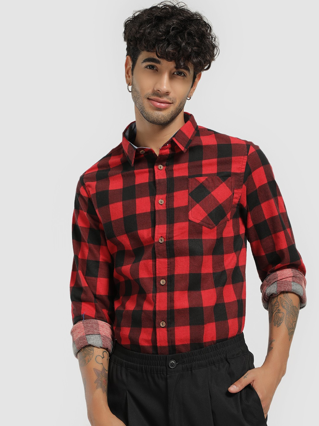 Brave Soul Red Fleece Checked Long Sleeve Shirt 1