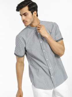 Brave Soul Vertical Stripe Grandad Collar Shirt