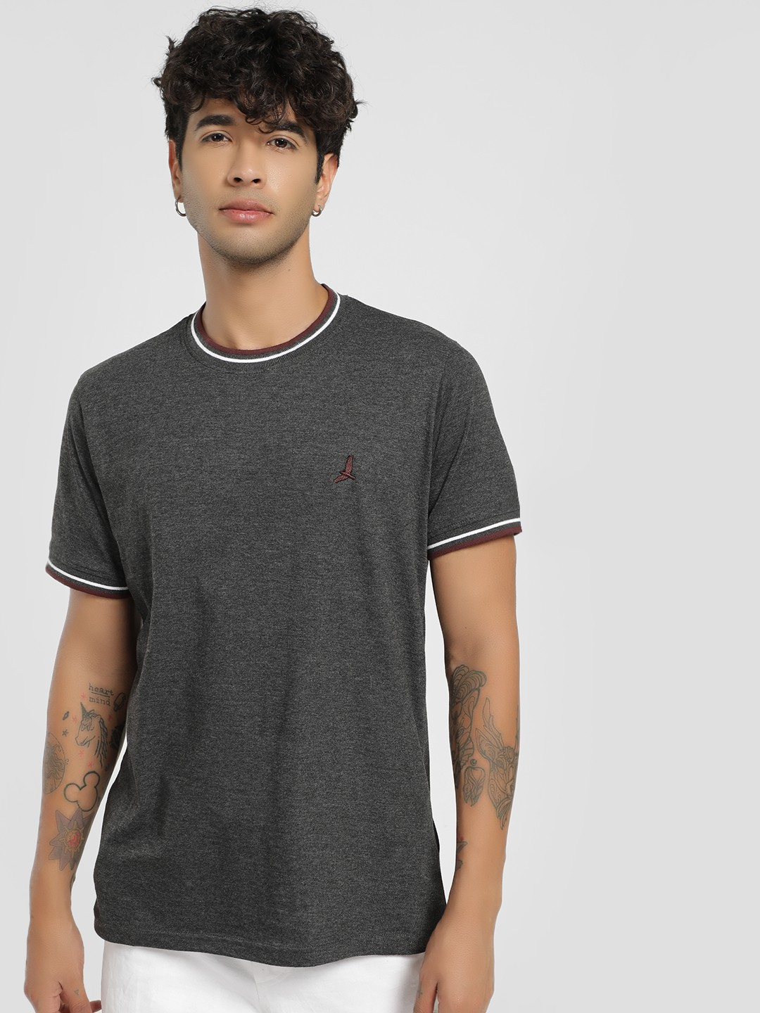 Brave Soul Grey Ribbed Crew Neck T-Shirt 1