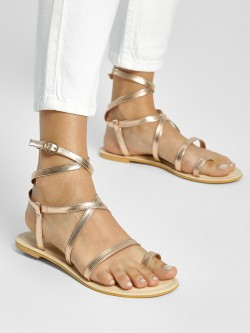 KOOVS Metallic Strappy Flat Sandals
