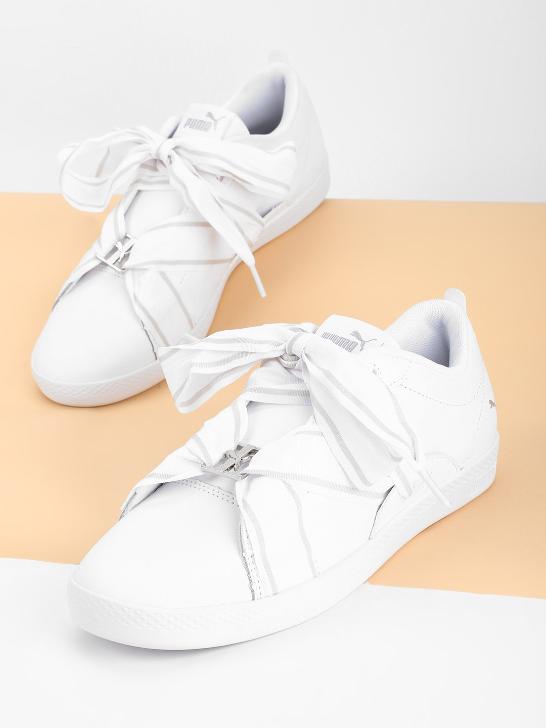 Puma White Smash Buckle Sneakers 1