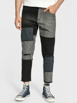K Denim KOOVS Patchwork Panelled Ripped Slim Jeans