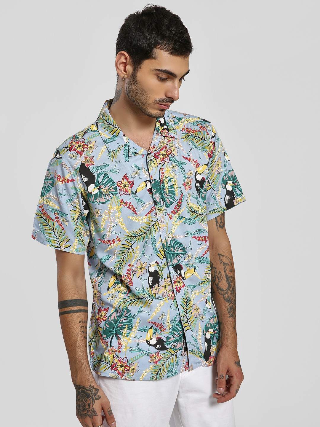 KOOVS Multi Cuban Collar Tropical Print Shirt 1