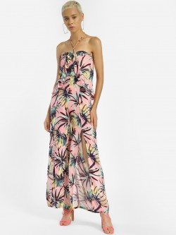 KOOVS Palm Print Halter Neck Jumpsuit
