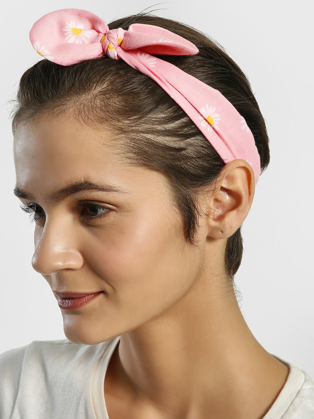 Blueberry Pink Sunflower Print Bow Headband 1